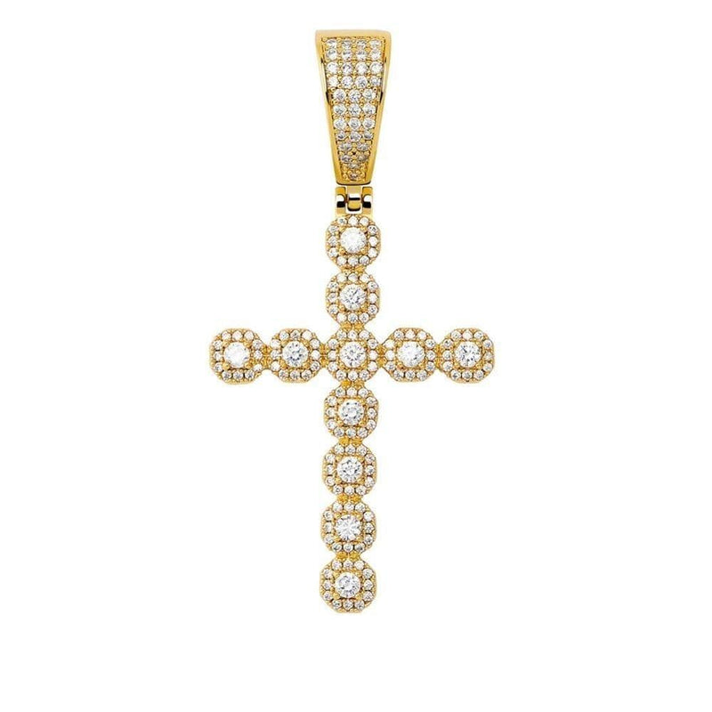 Iced Out diamond cross pendant