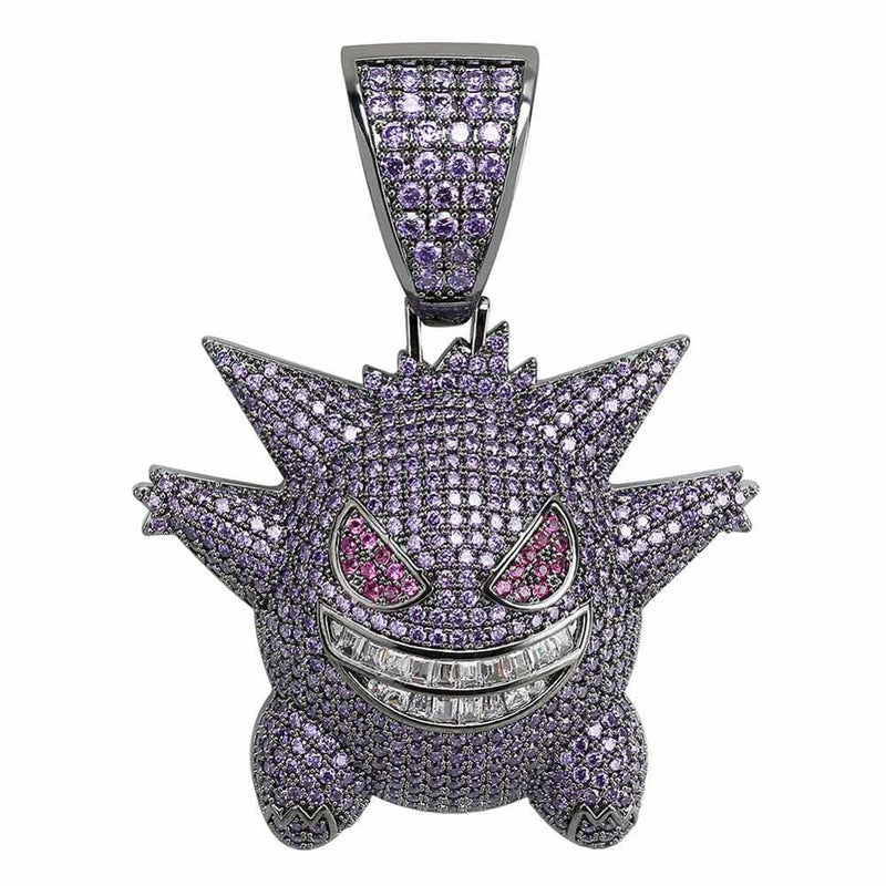 Iced Out Pendant <br> Gengar <br> (Purple Gold)