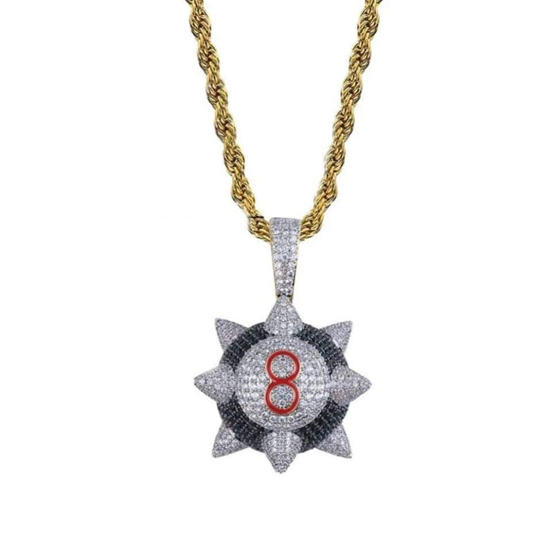 Iced Out Pendant <br> Spike 8 Ball <br> (18K Gold)