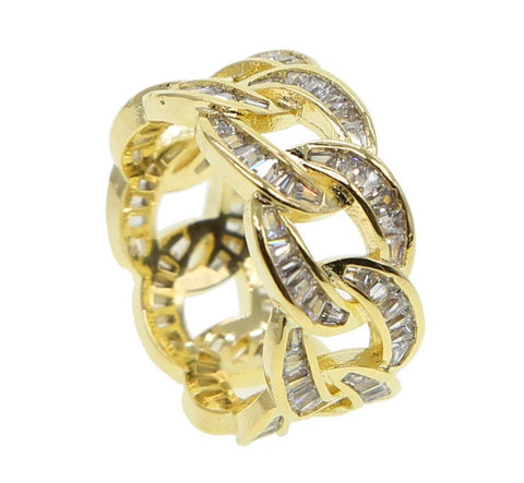 Baguette Cuban Link Ring Gold