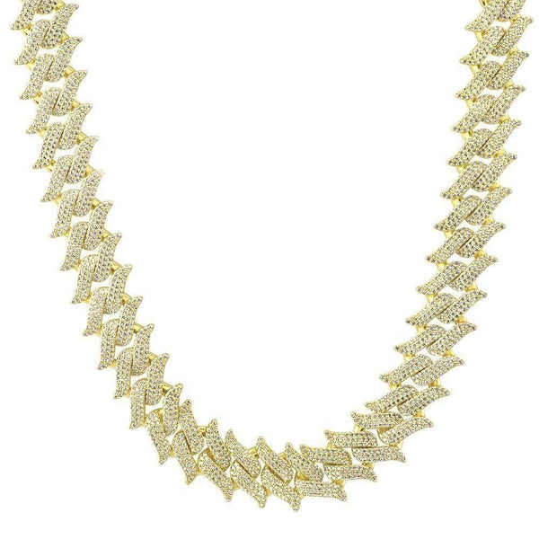 Iced Out Chain <br> 20mm Spiked Cuban <br> (18K Gold)
