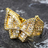 Iced Out Ring <br> Butterfly <br> (14K Gold)