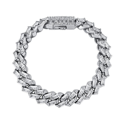 Iced Out Bracelet <br> 12mm Baguette Channel Set <br> (White Gold)