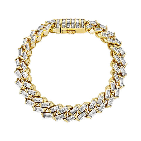 Iced Out Bracelet <br> 12mm Baguette Channel Set <br> (18K Gold)