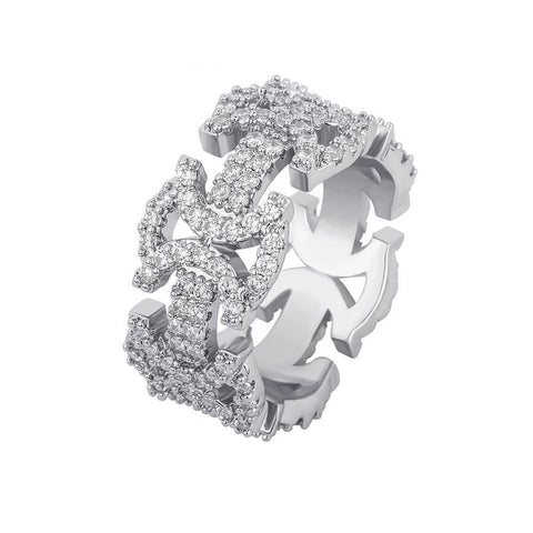 Iced Out Butterfly Link Ring in White Gold