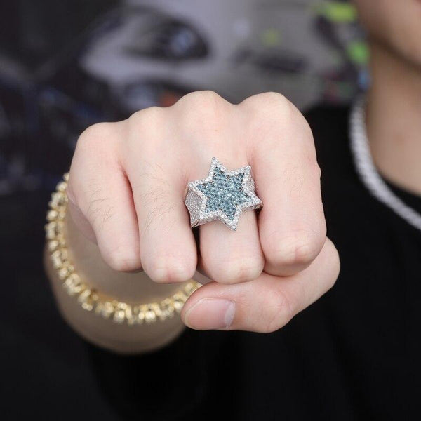 Iced out Star Ring Blue