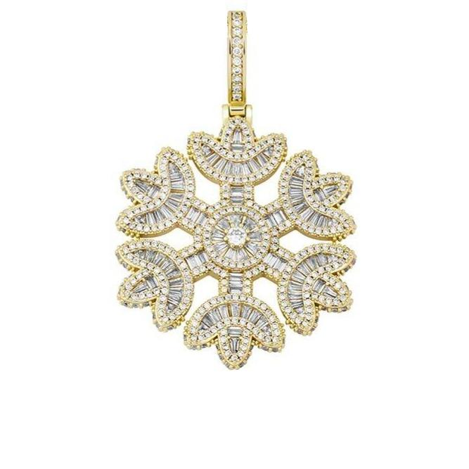 Iced Out Snowflake Pendant Gold
