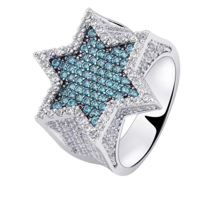 Iced Out Blue Star Ring