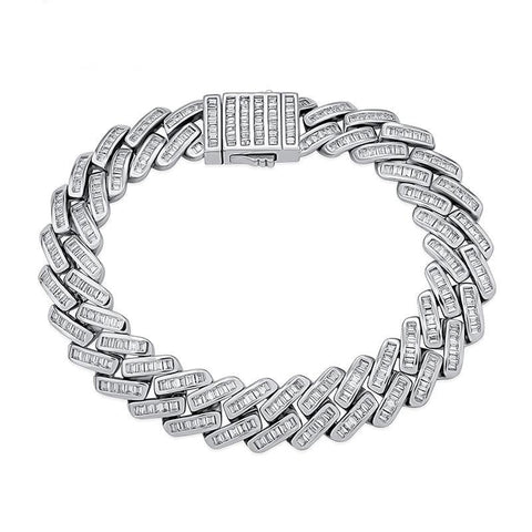 Iced Out Bracelet <br> 12mm Baguette Prong <br> (White Gold)