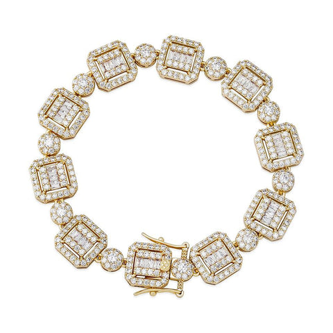 Iced Out Bracelet <br> 12mm Personality Baguette <br> (18K Gold)