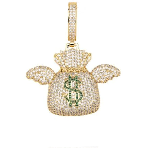 Iced Out Flying Money Bag Pendant Gold