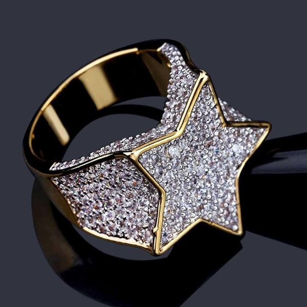 Diamond Iced out Star Ring