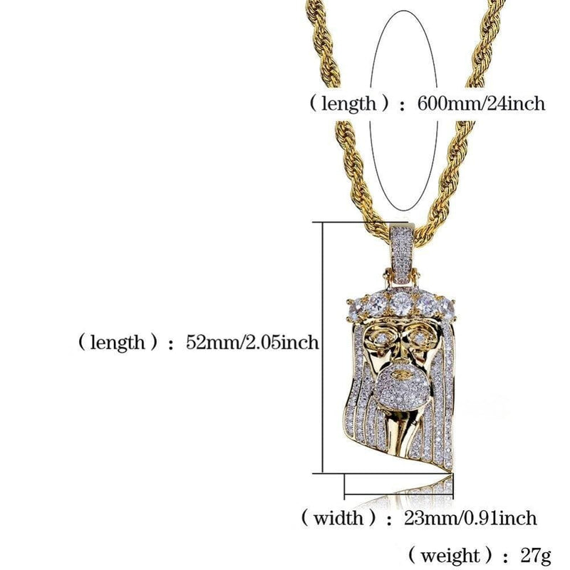 Iced Out Pendant <br> Jesus Tennis Crown <br> (18K Gold)