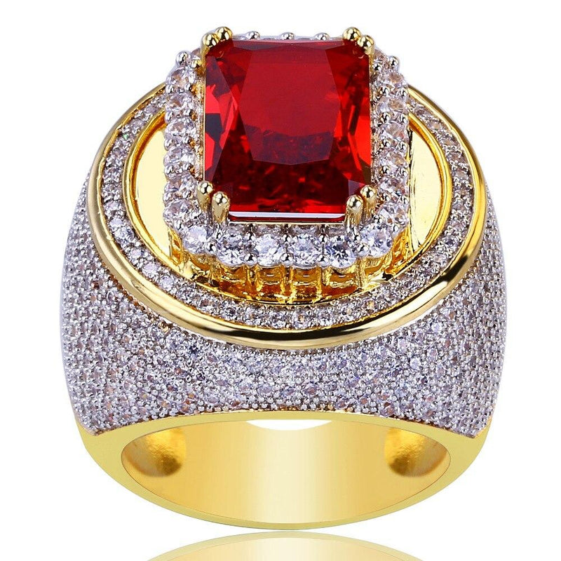 Iced Out Red Stone Ring