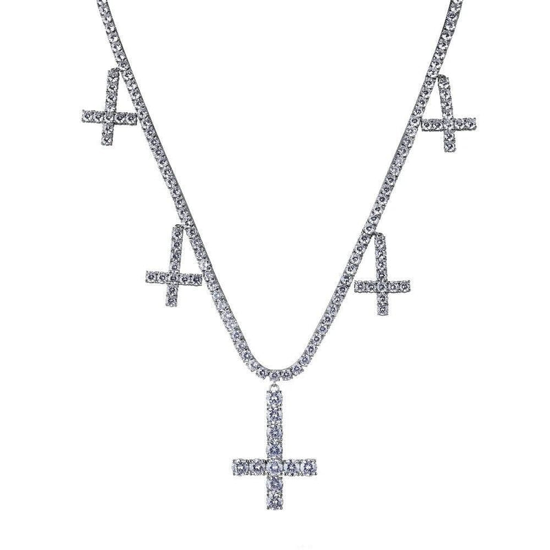 Iced Out Pendant <br> Upside Down Cross <br> (White Gold)