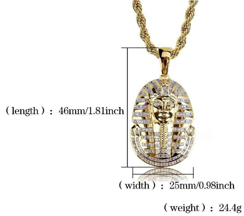 Iced Out Pendant <br> Egyptian Pharaoh <br> (18K Gold)