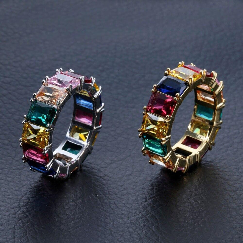 Iced Out Ring <br> Rainbow Tennis <br> (White Gold)