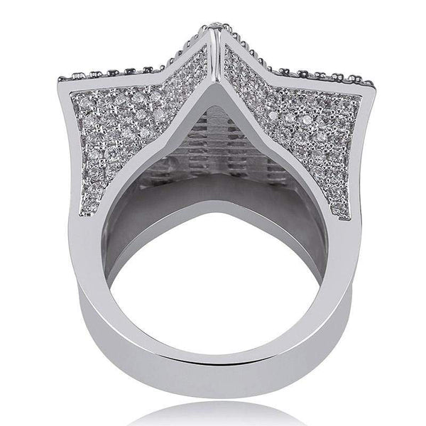 Iced Out Ring <br> Baguette Star <br> (White Gold)