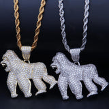 Iced Out Pendant <br> Gorilla <br> (18K Gold)