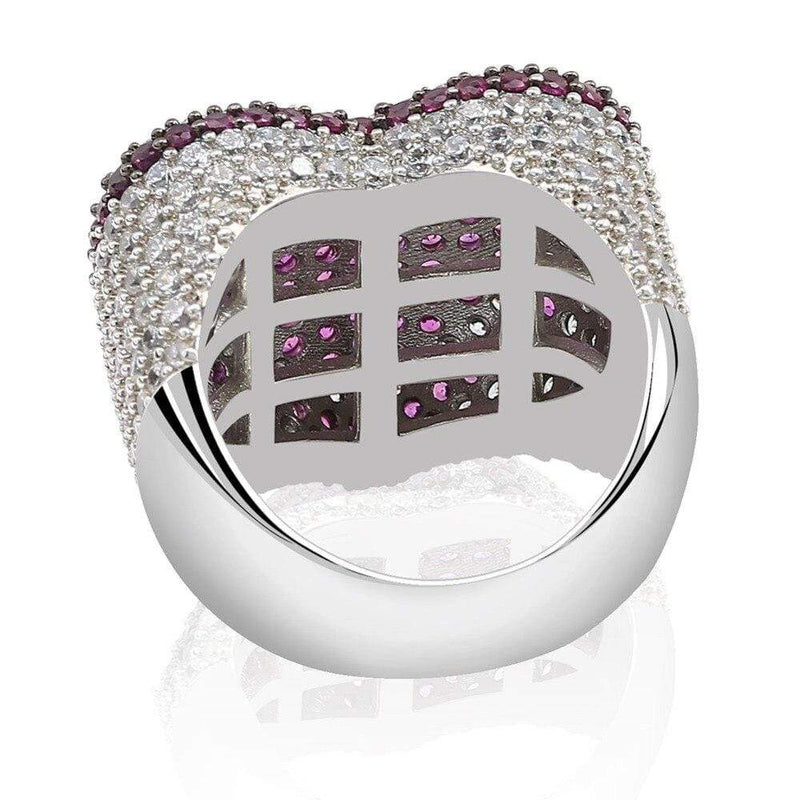 Iced Out Ring <br> Heart <br> (Red White Gold Plated)
