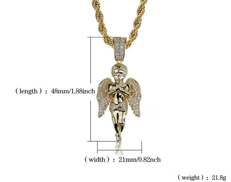 Iced Out Pendant <br> Angel <br> (18K Gold)