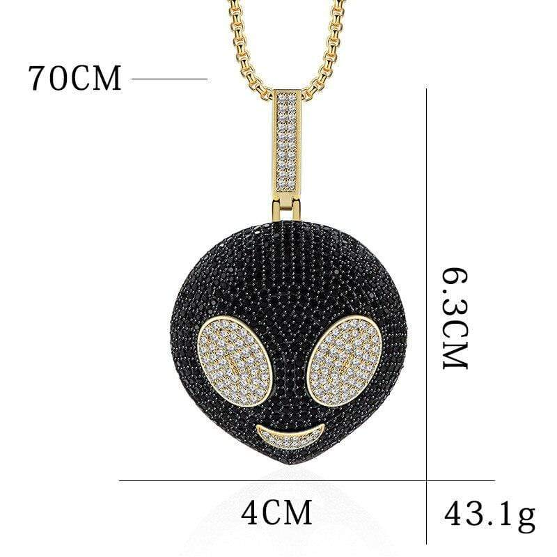Iced Out Pendant <br> Alien Head <br> (18K Gold)