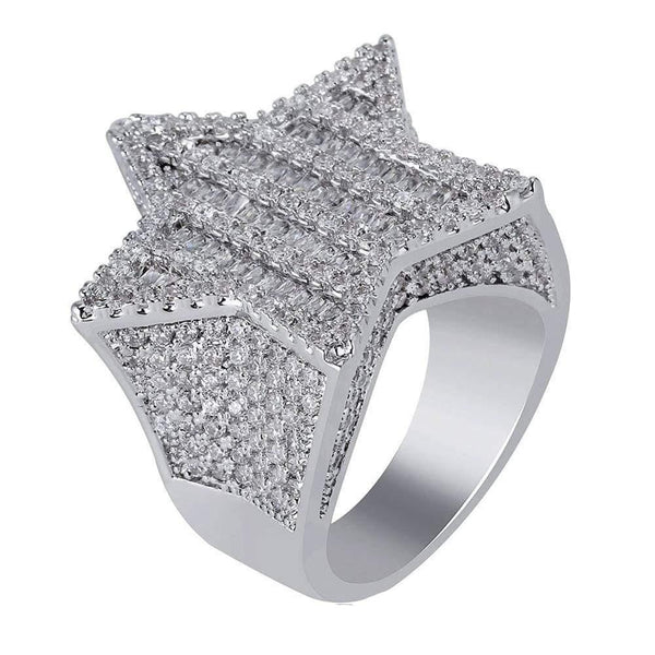 Iced out star baguette ring