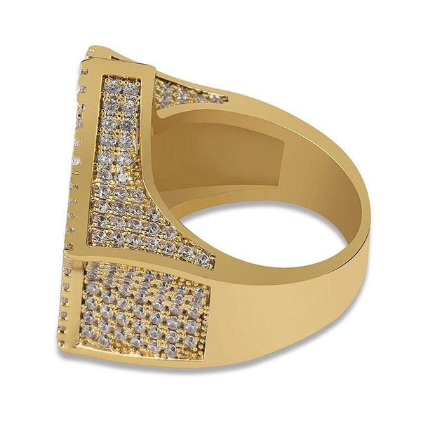 Iced Out Ring <br> Baguette Star <br> (14k Gold)