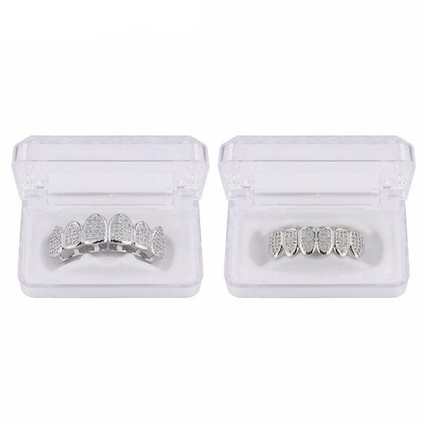 Iced Out Grillz <br> Frozen Teeth <br> (Silver)