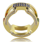 Iced Out Ring <br> Diamond Link <br> (14K Gold)