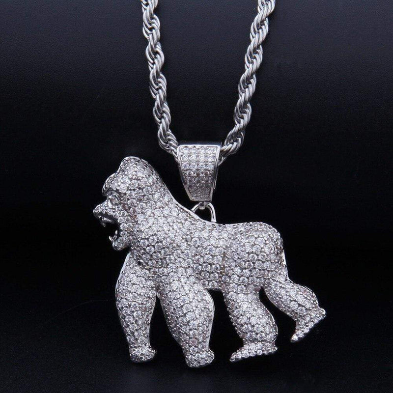 Iced Out Pendant <br> Gorilla <br> (White Gold)