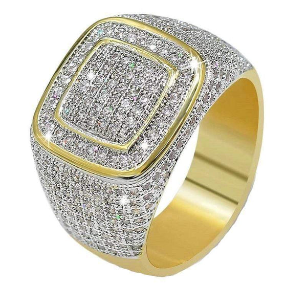 Iced Out Ring <br> Icey Square <br> (14K Gold)