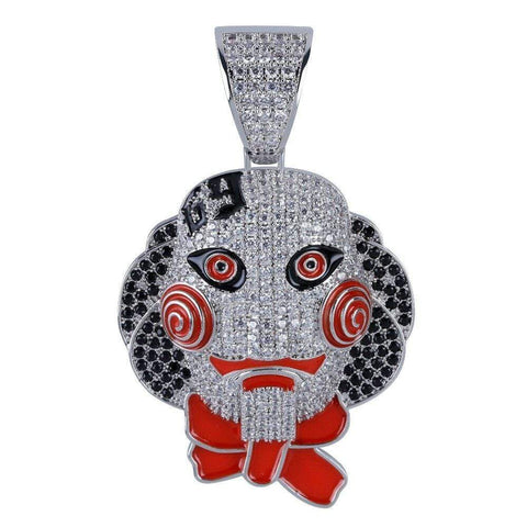 Iced Out Pendant <br> Saw Clown <br> (White Gold)