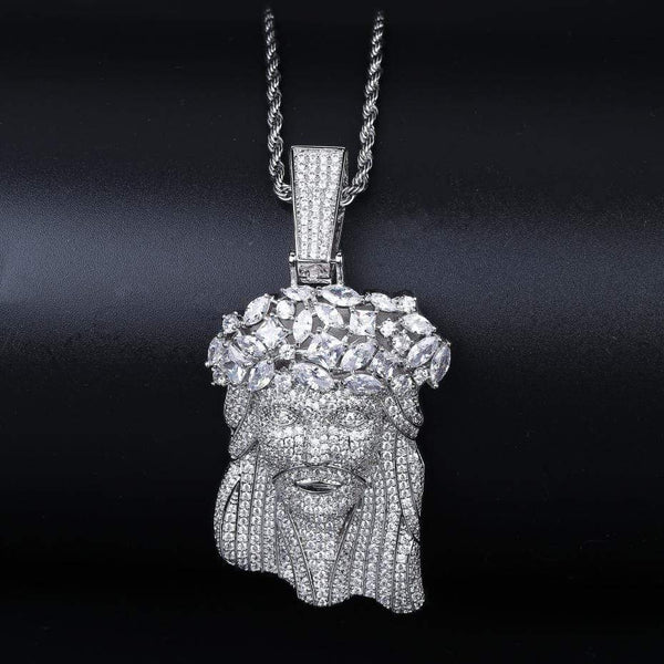 Iced Out Pendant <br> Flower Crown Jesus <br> (White Gold)