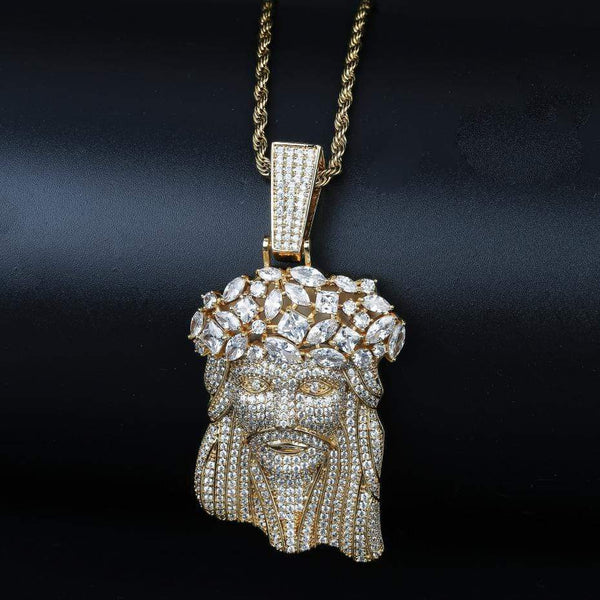 Iced Out Pendant <br> Flower Crown Jesus <br> (18K Gold)