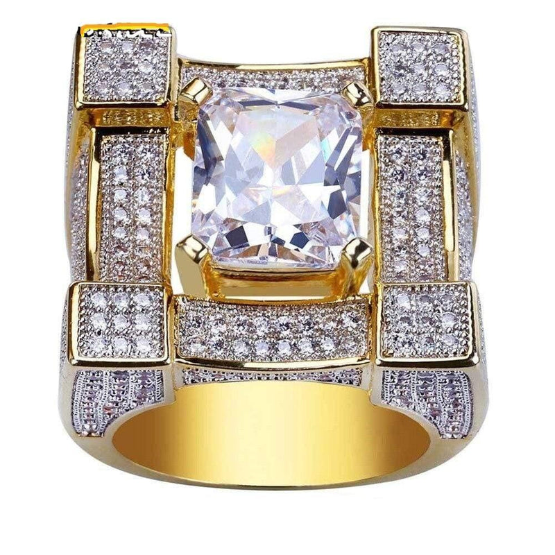 Iced Out Solitaire Ring