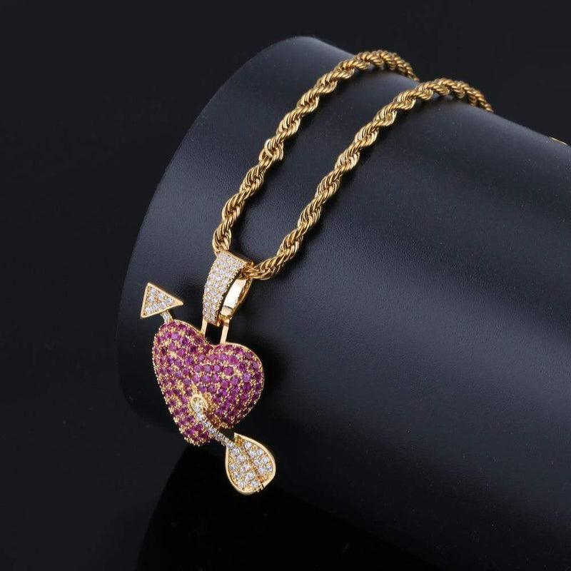Iced out Pendant <br> Arrow Through Heart <br> (18K Gold)