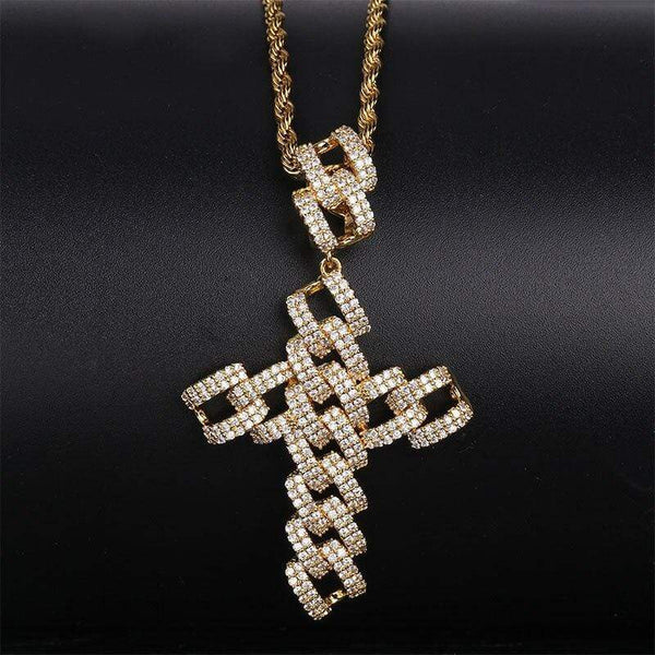 Iced Out Pendant <br> Cuban Cross <br> (18K Gold)