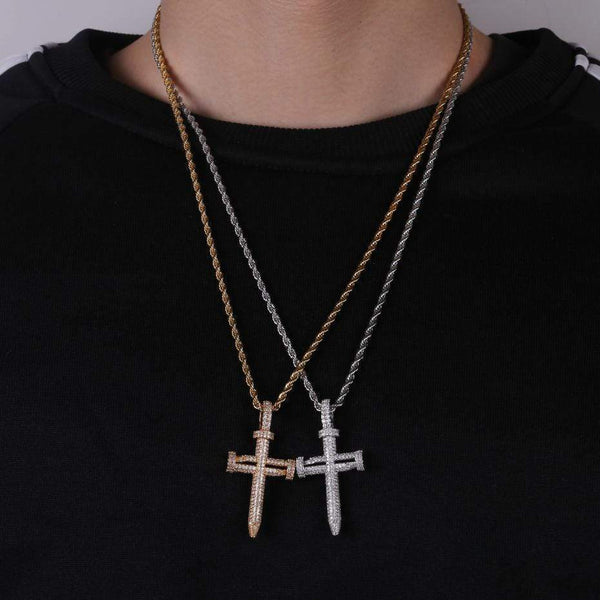 Iced Out Pendant <br> Nail Cross <br> (18K Gold)