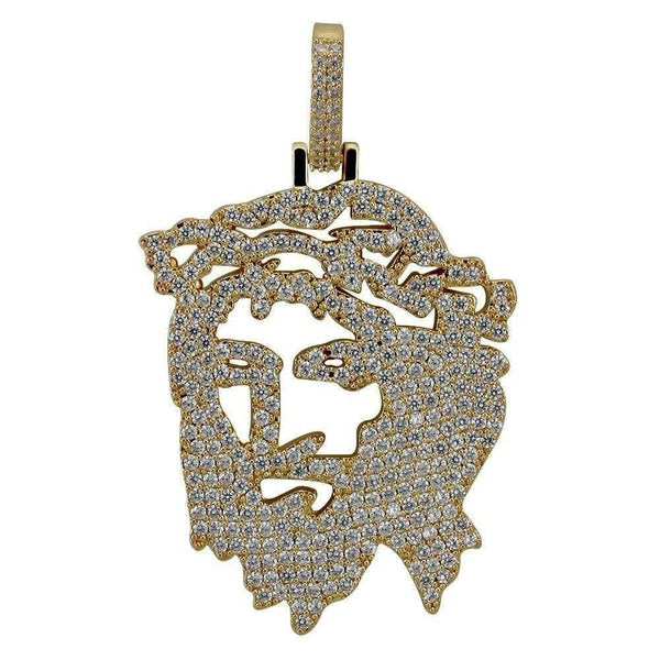 Iced Out Jesus Head Pendant