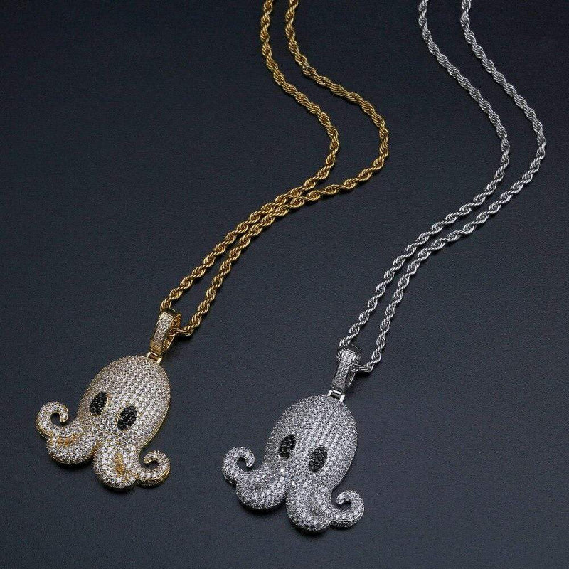 Iced Out Pendant <br> Octopus <br> (White Gold)