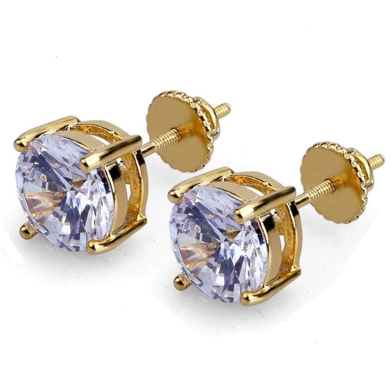 Iced Out Earrings <br> 8mm Stone <br> (18K Gold)