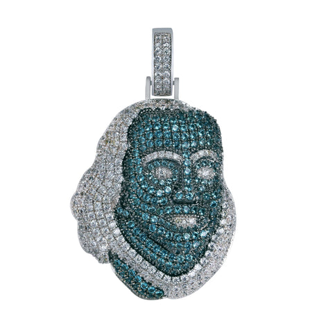 Iced Out Pendant <br> Blue Face <br> (White Gold)