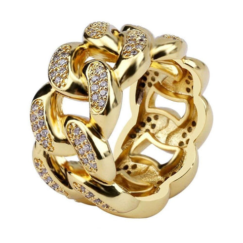 Iced Out Ring <br> Cuban Link <br> (14K Gold)