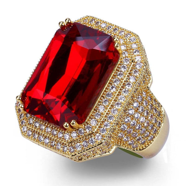 Iced Out Ring <br> Red Ruby <br> (14K Gold)