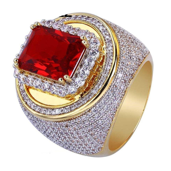 Iced out Ring with Ruby