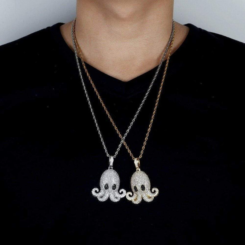 Iced Out Pendant <br> Octopus <br> (18K Gold)