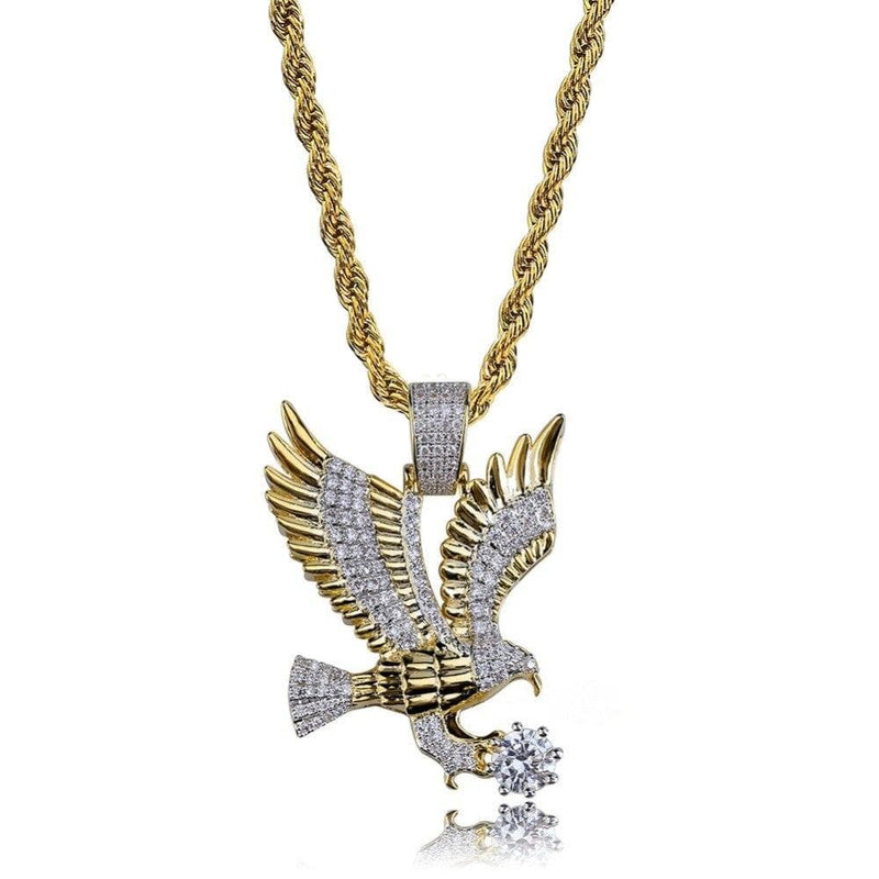 Iced Out Pendant <br> Diamond Eagle <br> (14K Gold)