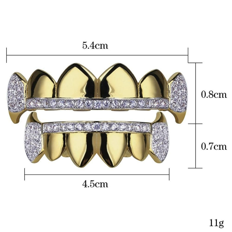 Iced Out Grillz <br> Vampire Fangs Teeth <br> (Gold)