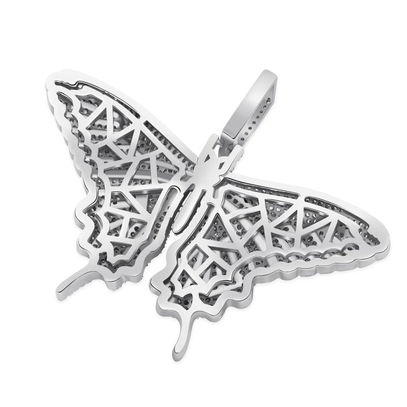 Iced Out Pendant <br> Butterfly <br> (White Gold)